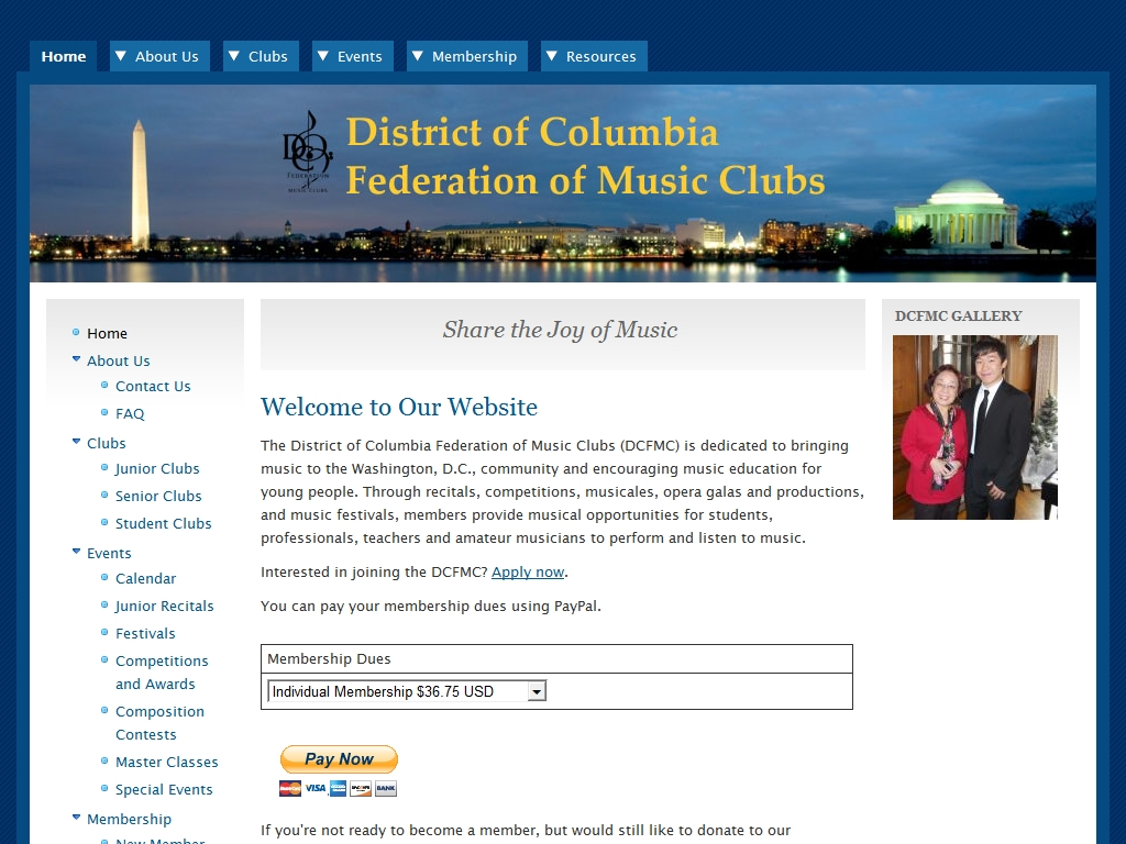 DC Federation of Music Clubs Website