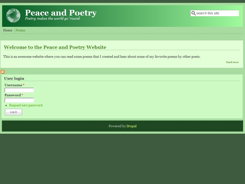 Peace and Poetry Website