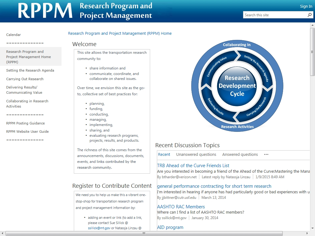 Research Program and Project Management (RPPM) Website