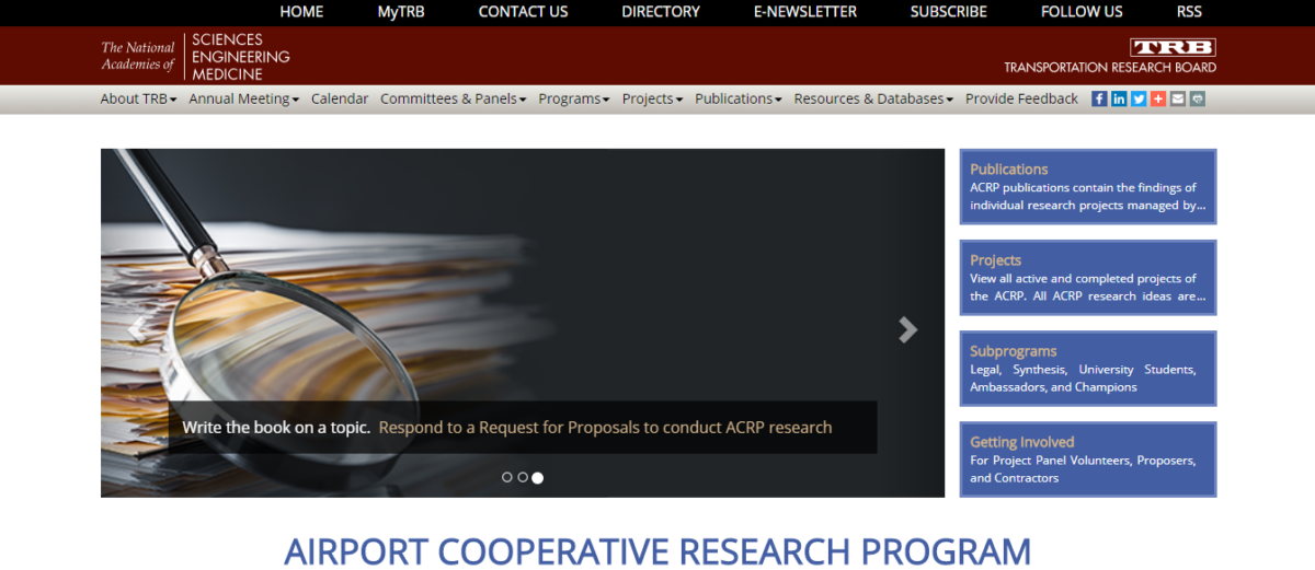 Airport Cooperative Research Program (ACRP) Responsive Webpage