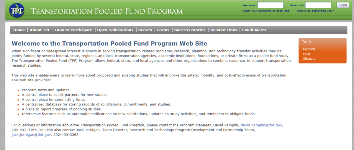 Transportation Pooled Fund Website